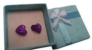 Brand New!! Purple Super Sparkle Acrylic Heart Stud Earrings