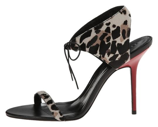 Burberry Askham Stone Red Animal Print Black Sandals