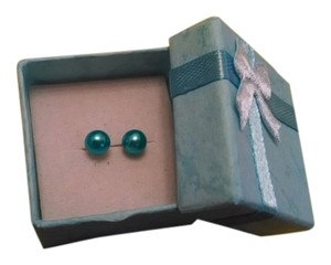 Brand New Teal Super Lustre Pearl Stud Earrings Free Shipping
