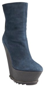 Giuseppe Zanotti Platform Boots 36 6 Suede Teal Blue Wedges