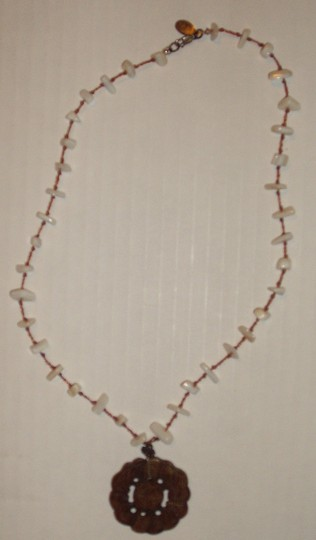 Other White Tooth Style Necklace with Eastern-theme style Brown Pendant