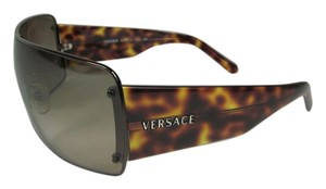 Versace Havana Brown & Logo Medallion, Glam Shield Wrap Sunglasses