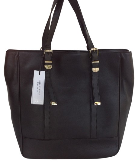 Versace Gold Hardware 1 Zipper Pocket 2 Small Pockets Tote in Black