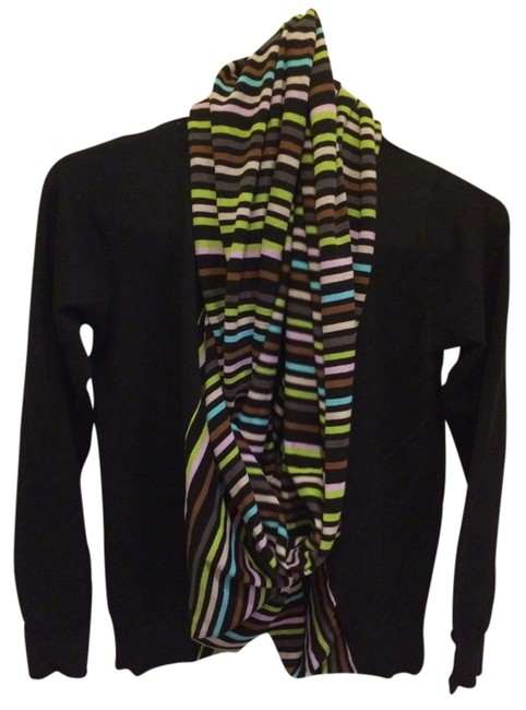 Preload https://item4.tradesy.com/images/black-with-color-striped-scarf-attached-cardigan-size-4-s-556103-0-0.jpg?width=400&height=650