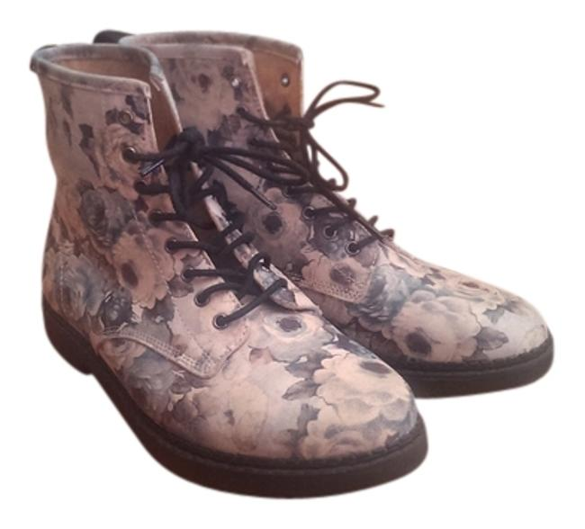Item - Multicolor Floral Print Flat Boots/Booties Size US 8.5