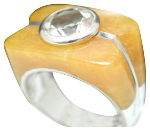 Samuelle & Co. Yellow Jade and White Zircon .925 Sterling Silver Ring