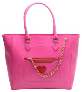 Moschino Leather Tote in Hot Pink