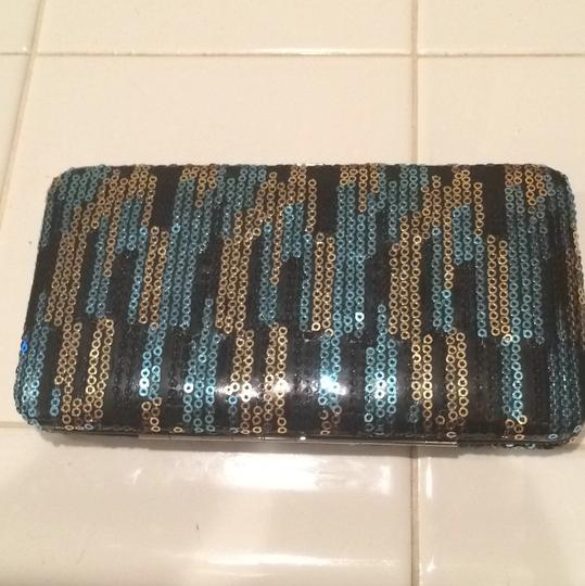 Forever 21 Black With Blue And Gold Clutch