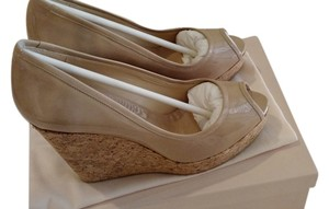 Jimmy Choo Open Toe Beige Nude Patent Leather Platform Nude (Beige) Wedges