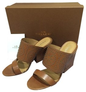 Coach New 2015 2015 New New New Heels Heels New Pumps Pumps New Dutchess Dutchess New Studded Leather Saddle Brown Mules