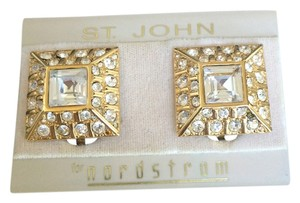 St. John St. John Gold Rhinestones Clip On Earrings