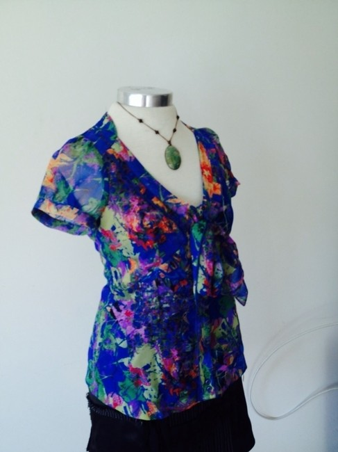 Vertigo Paris Sheer Button Down Shirt Floral