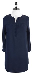 Vince short dress Navy Silk Long Sleeve Shift on Tradesy