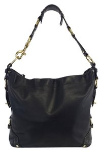 Coach Black Leather Studded Shoulder Bag