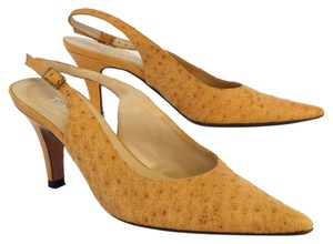 Tino Lanzi Ostritch Embossed Leather Pumps