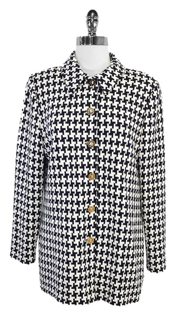 St. John Black White Houndstooth Jacket