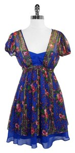 Betsey Johnson short dress Blue Red Floral Print Silk on Tradesy