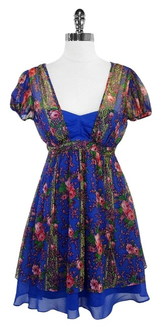Betsey Johnson short dress Blue Red Floral Print Silk Babydoll on Tradesy