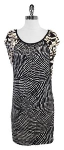 Trina Turk short dress Black White Print Silk Short Sleeve on Tradesy