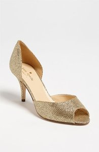 Kate Spade Gold Sage Sparkly Open Toe Pump Formal Size US 8