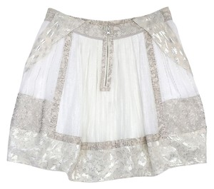 Rebecca Taylor White Grey Metallic Print Silk Skirt