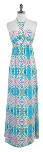 Maxi Dress by Alice & Trixie Teal Purple Print Silk