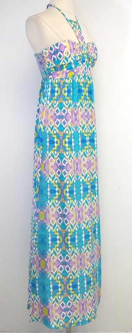 Maxi Dress by Alice & Trixie Teal Purple Print Silk Maxi