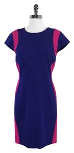 Diane von Furstenberg short dress Blue Fuschia Cap Sleeve on Tradesy