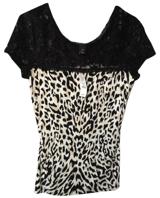 White House | Black Market Material Is Stretchy Top Black/Neutral Gray/Ecru Animal Print