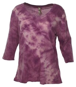 7 For All Mankind V Neck Tie Dye T Shirt Purple