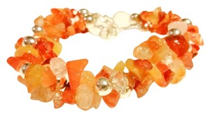 Mexican Fire Opal Trend Statement Wrist Ankle Chunky Bracelet .925 Silver