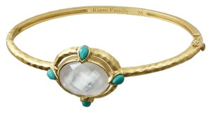 KIAM Collection NEW Lia Sophia KIAM Turquoise & Mother-of Pearl Hammered Matte Gold