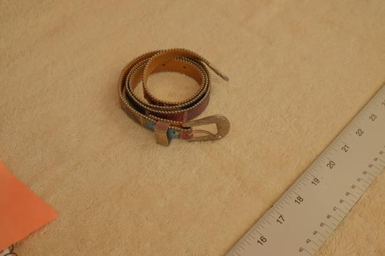 Eloise Brown leather belt with white metal buckle