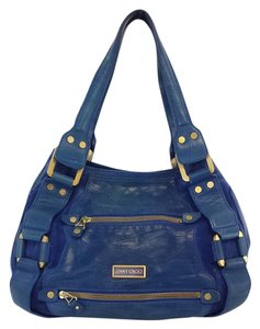 Jimmy Choo Distressed Mahala Blue Calf Leather Suede Tote