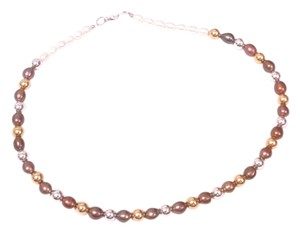 8mm Brown White Freshwater Pearls Gold Silver Ball Designer Necklace