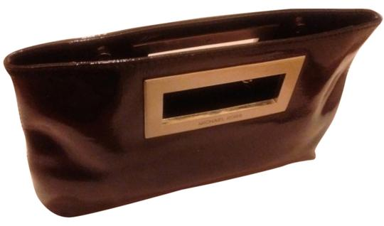 Michael Kors Patent Edgy Leather Patent Leather Metal Hardware Metal Hardware Silver Handle Magnetic Black Clutch
