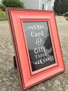 Coral Cards and Gifts Table Sign