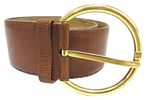 Salvatore Ferragamo Auth Salvatore Ferragamo Belt Gold Tone Leather Brown Size 70 Women