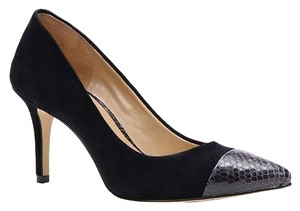 Ann Taylor Suede Snakeskin Pointed Toe Navy Pumps
