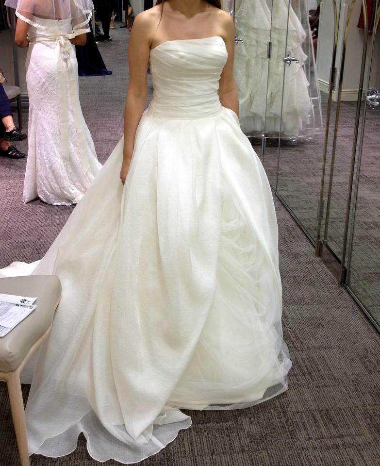 Vera Wang Ivory Organza And Tulle Gown With Draped Bodice