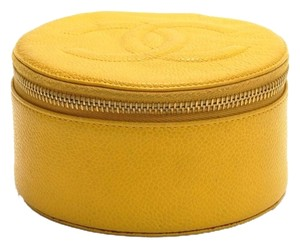 Chanel Chanel Yellow Caviar Leather Large Jewelry Case Pouch