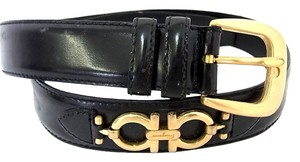 Salvatore Ferragamo Auth Salvatore Ferragamo Belt Size 80 Women's Leather Buckle Black Gancini
