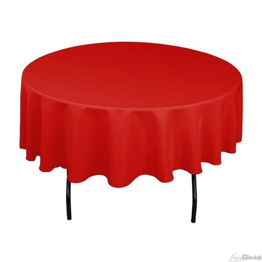 Red 90 Inch Round Table Linens