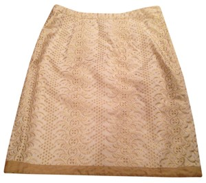 Banana Republic Brocade Elegant Skirt Ivory and Gold