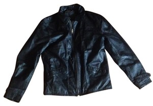 JACHS The Men Bomber Fall Varsity black Leather Jacket