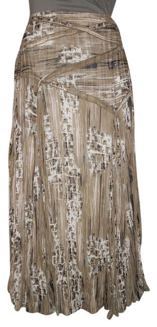 Item - Taupe Black White and Grey Print Crinkle Pleat Skirt Size 8 (M, 29, 30)
