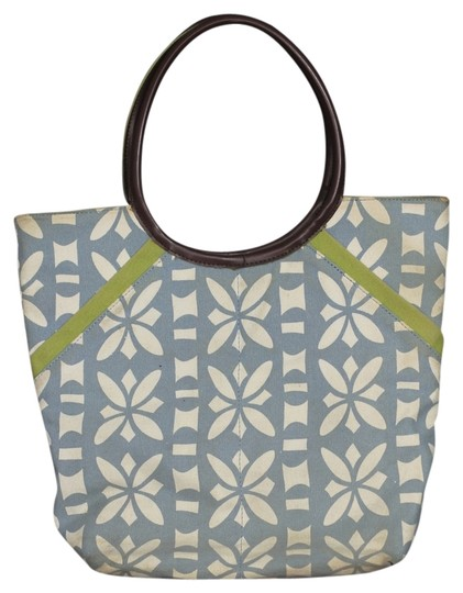 Esprit Beach Tote in White & Blue Pattern
