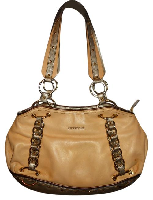 Cromia Tote Tan Silver & Bronze Leather Shoulder Bag Cromia Tote Tan Silver & Bronze Leather Shoulder Bag Image 1