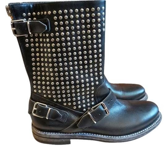 Burberry Studded Biker Motorcycle Moto Leather black, silver Boots