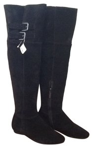 Calvin Klein Suede Buckle Over The Knee Black Boots